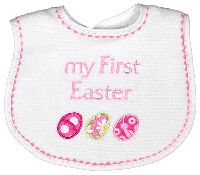 "R6311ES ""My First Easter"" appliqued Bib"