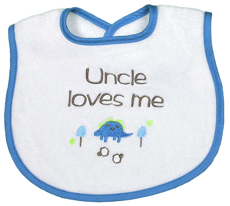 """Uncle Loves Me"" Boy Bib"