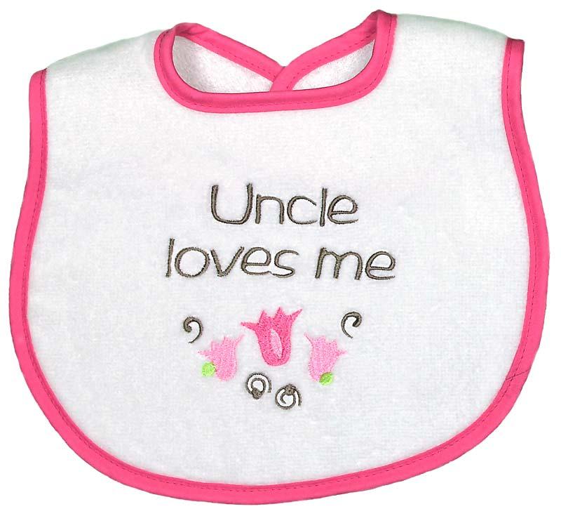 """Uncle Loves Me"" Girl Bib"