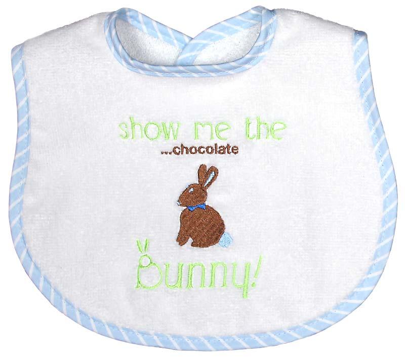 """Show Me the ....chocolate Bunny"" Boy Bib"