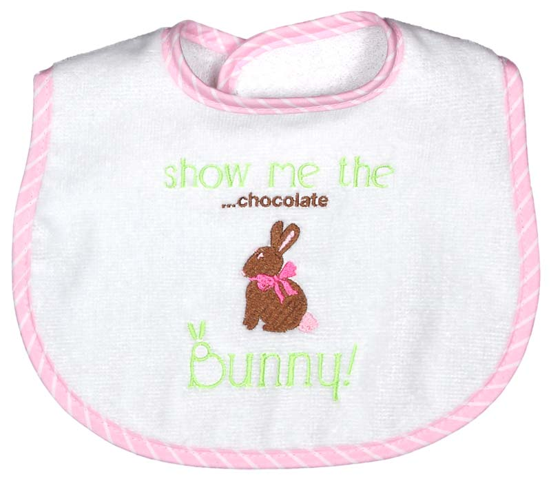 """Show Me the ....chocolate Bunny"" Girl Bib"