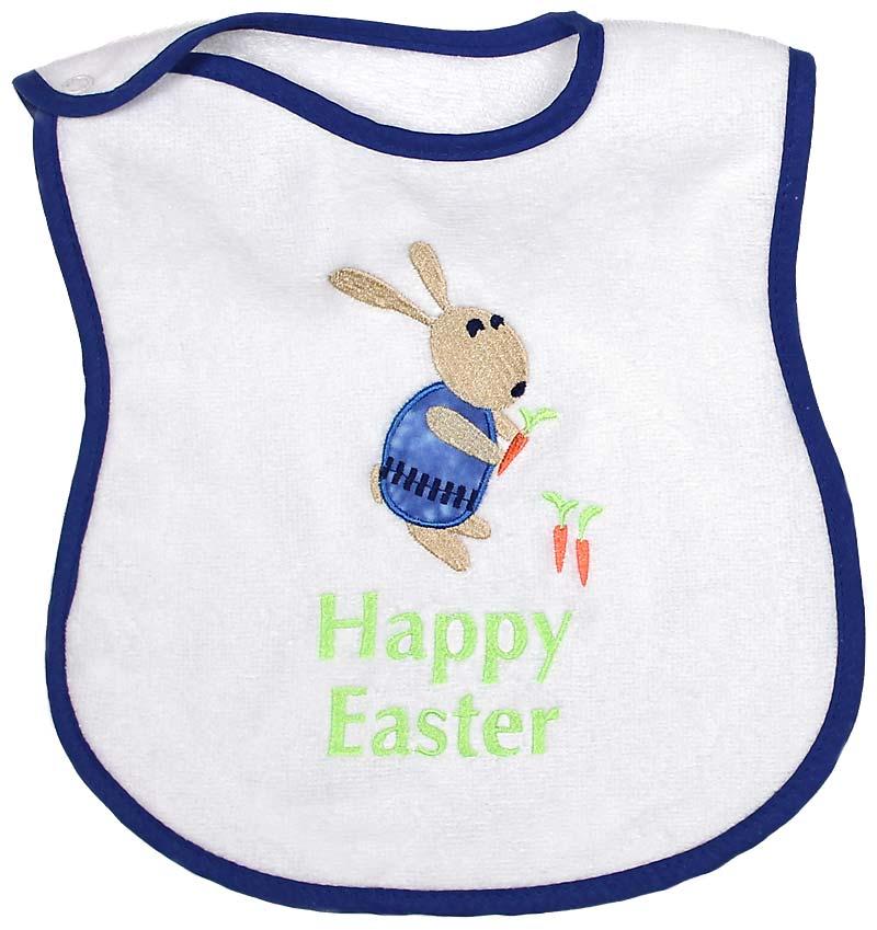 """""""Happy Easter"""" Appliqued Boy Bib"""