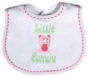 """Little Cousin"" Girl Bib"