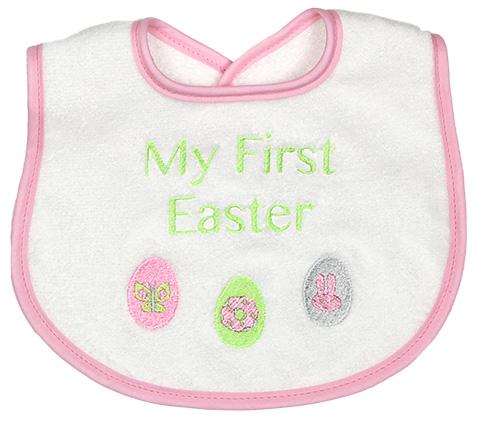 "R6401E ""My First Easter"" Girl Bib"