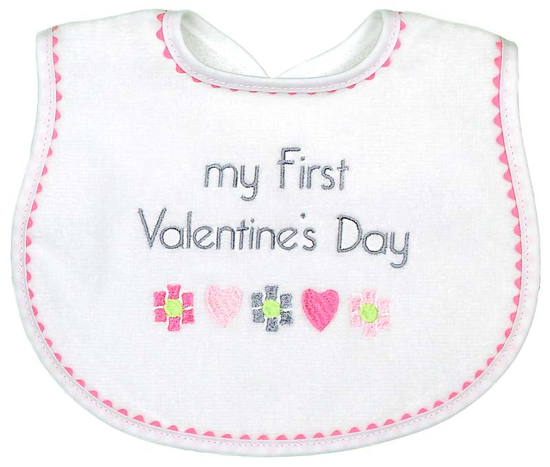 """My First Valentine's Day"" Girl Bib"