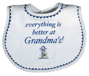 """Everything is Better at Grandma's!"" Boy Bib"