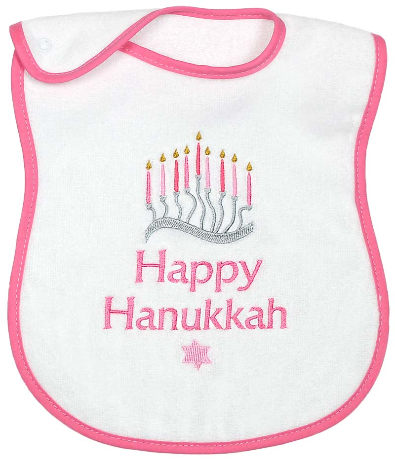 """Happy Hanukkah"" Girl Bib"