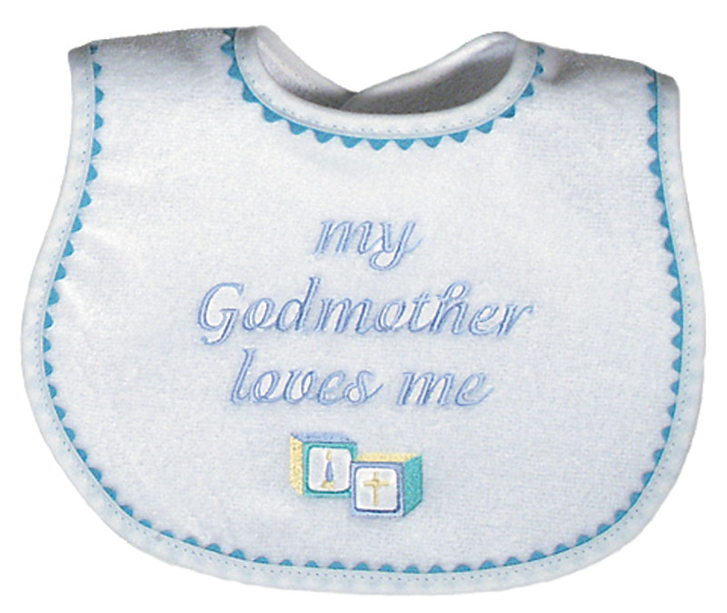 """My Godmother loves me"" Boy Bib"