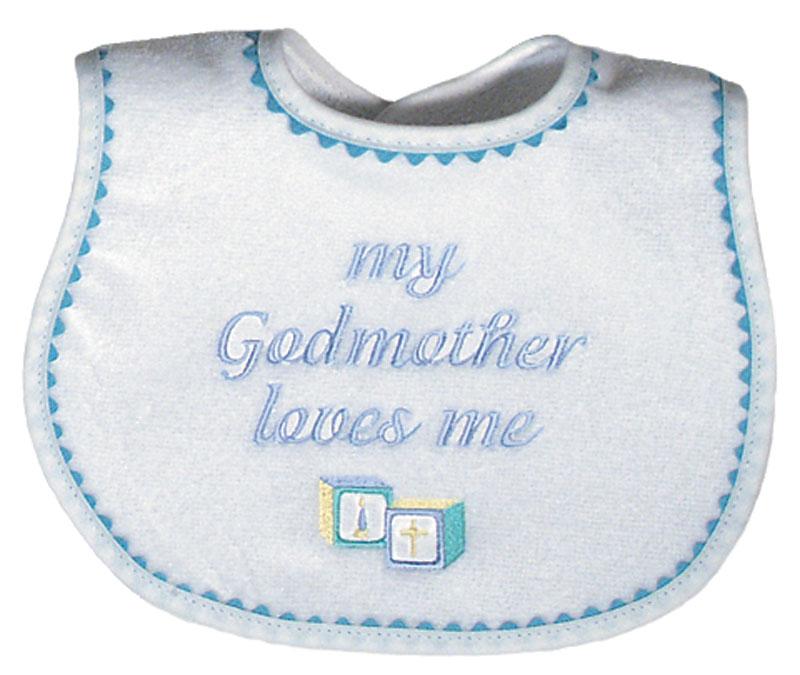 """My Godmother loves me"" Boy Bib"