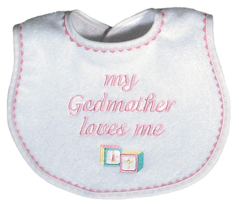 """My Godmother loves me"" Girl Bib"