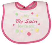 #6713 �My Big Brother, Big Sister Loves Me� Girl Bib