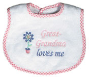 """Great-Grandma Loves Me"" Girl Bib"