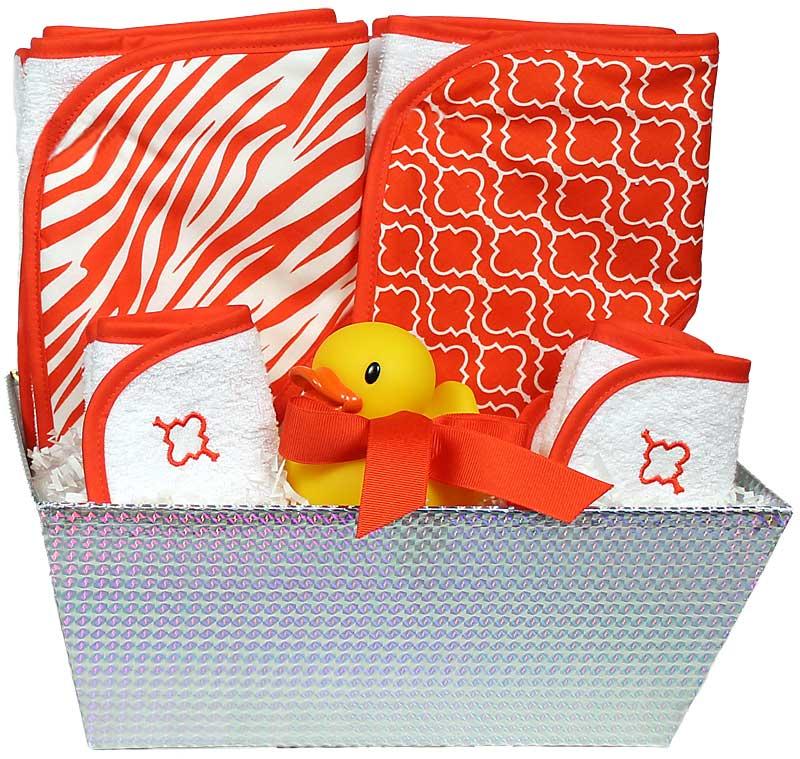 """Wild About Prints"" Bath Towel Orange Unisex Gift Set"