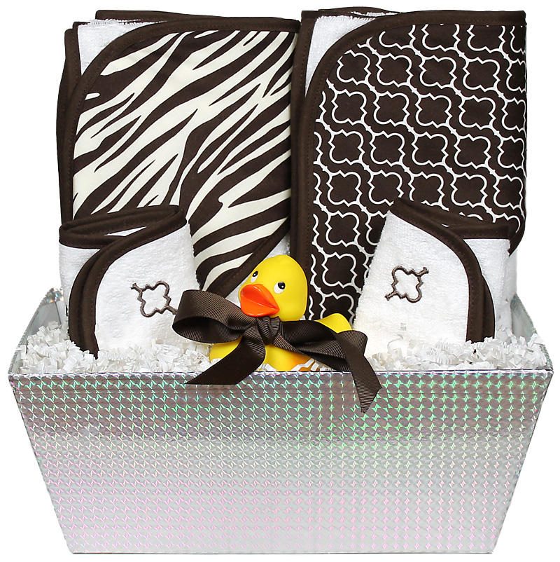 """Wild About Prints"" Bath Towel Brown Zebra Unisex Gift Set"