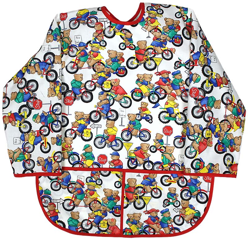 Unisex Bears on Bikes Print Art Smock