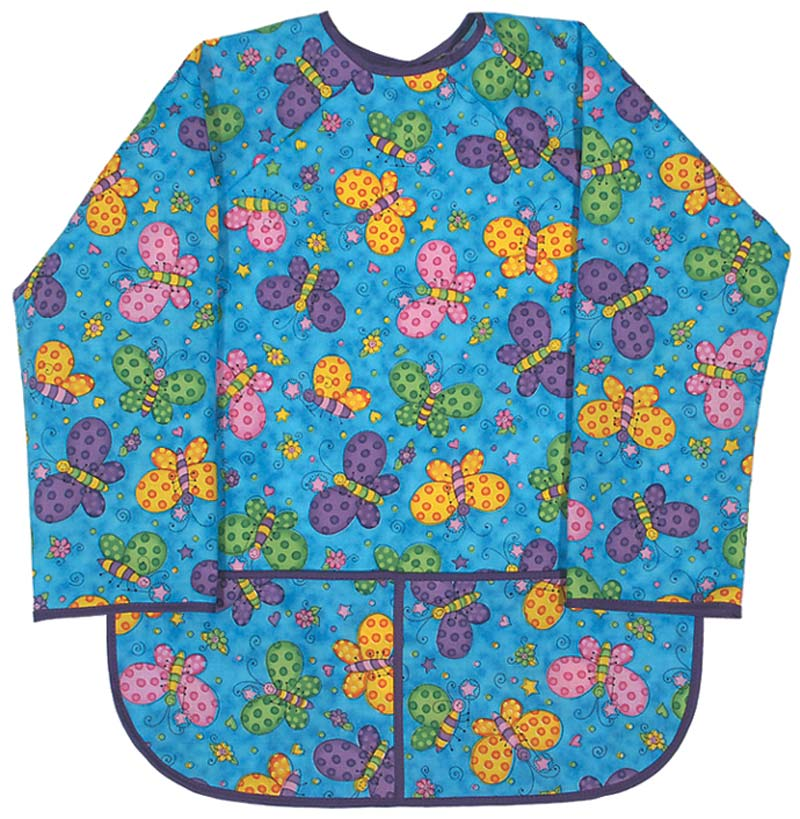 Girl Turquoise Butterfly Print Art Smock