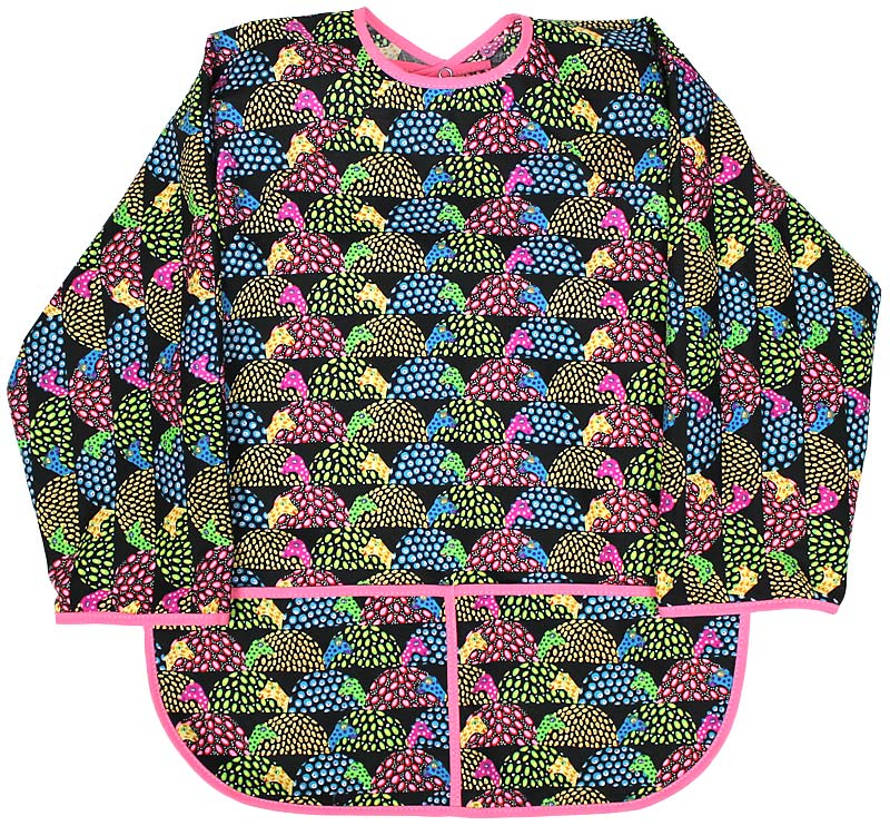 Girl Jeweled Snail Print Art Smock