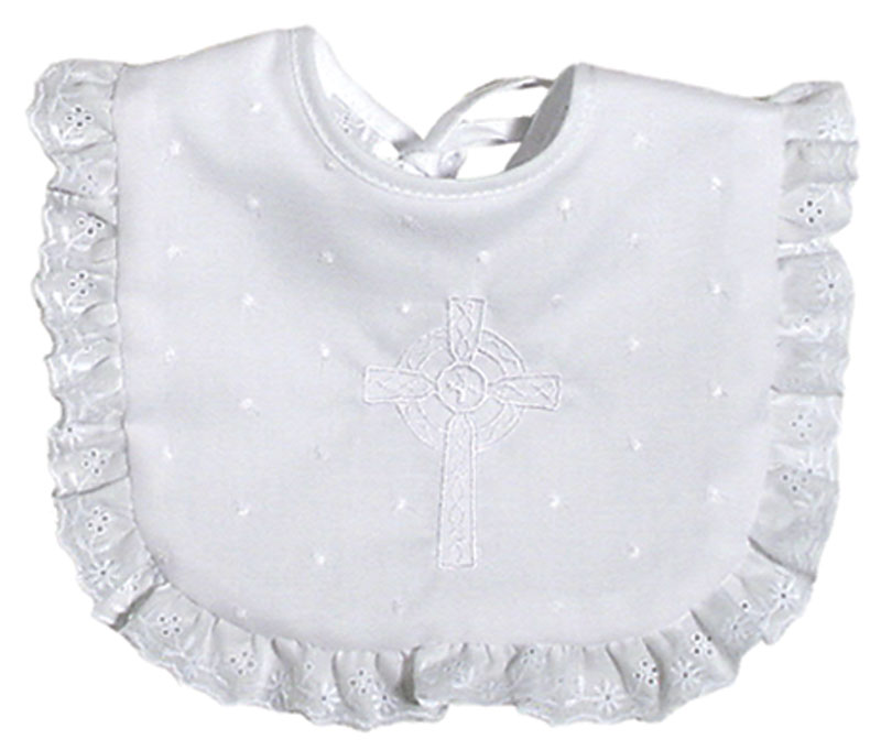 Cotton Celtic Christening Girl Bib