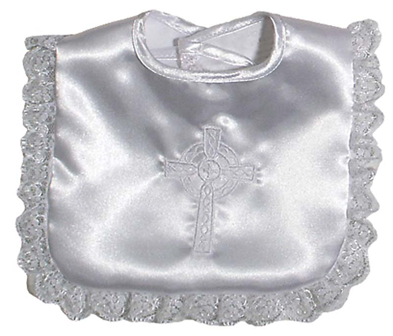 Satin Celtic Christening Girl Bib