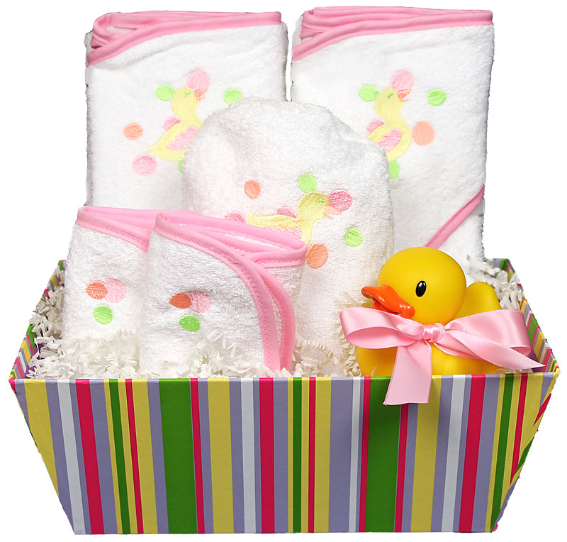 Bubbles n� Stripes Bath Towel Girl Gift Set