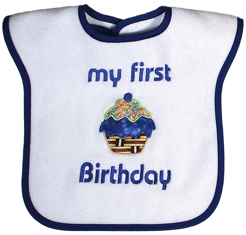 """My First Birthday"" Appliqued Boy Bib"
