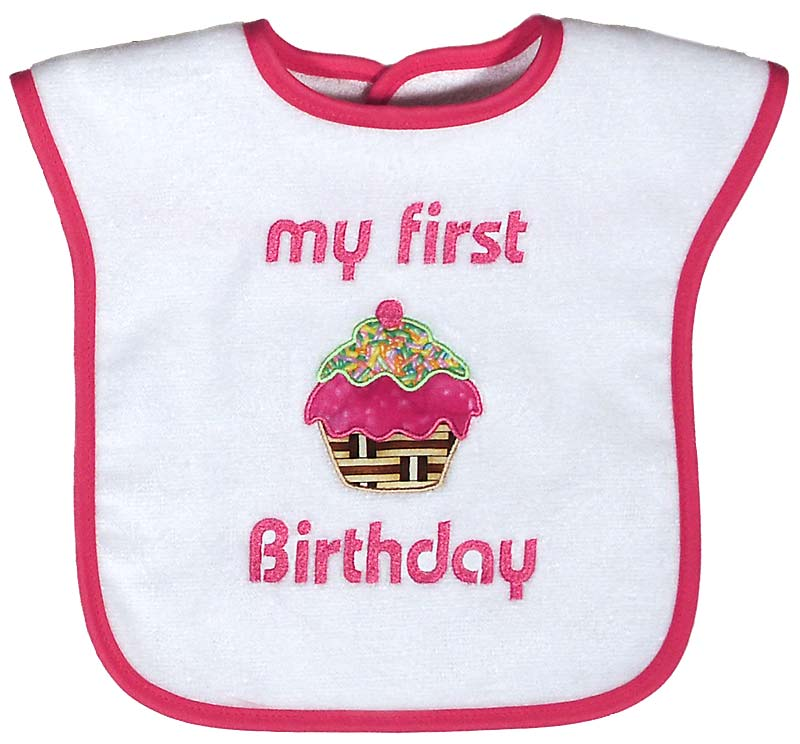 """My First Birthday"" Appliqued Girl Bib"