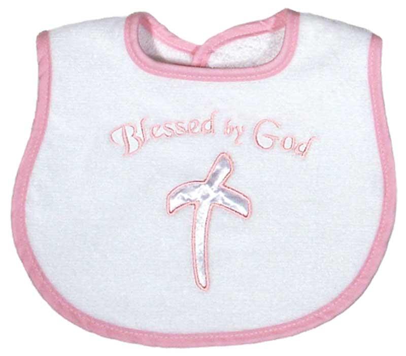 """Blessed by God"" Appliqued Girl Bib"