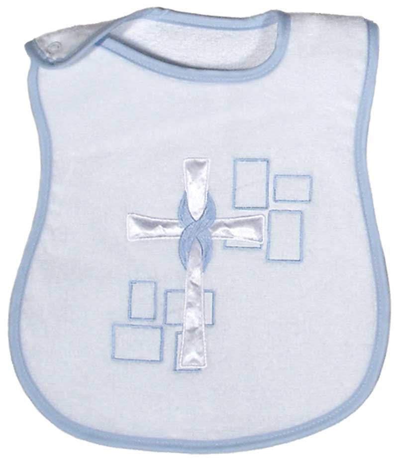 Satin Cross Appliqued Boy Bib