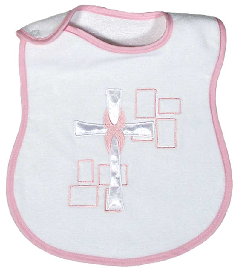 Satin Cross Appliqued Girl Bib