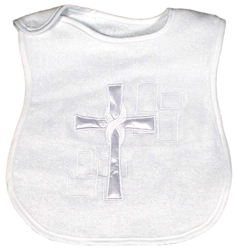 Satin Cross Appliqued Unisex Bib