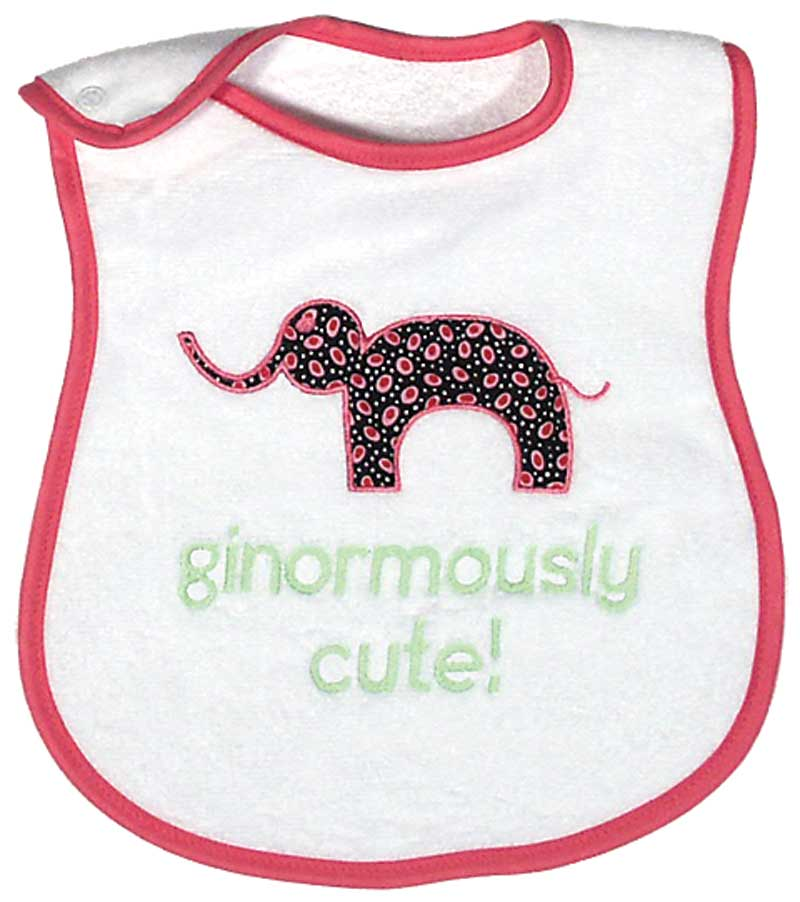 """Ginormously Cute"" Appliqued Girl Bib"