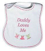 """Daddy Loves Me"" Girl Bib"
