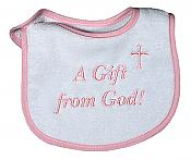 """A Gift from God� Girl Bib"