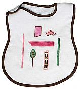 Modern Nature Ladybug Appliqued Girl Bib