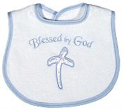 """Blessed by God"" Appliqued Boy Bib"