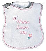 """Nana Loves Me"" Girl Bib"