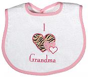 """I love Grandma"" Appliqued Girl Bib"